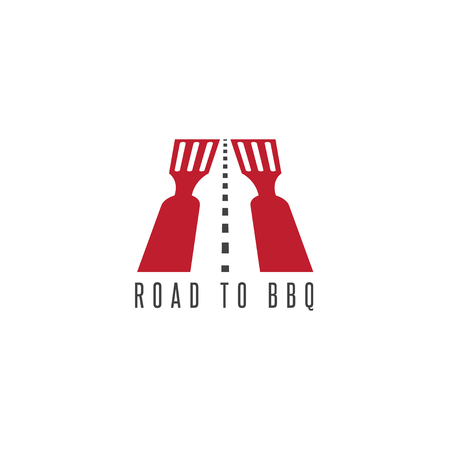 negative: road to bbq negative space vector concept