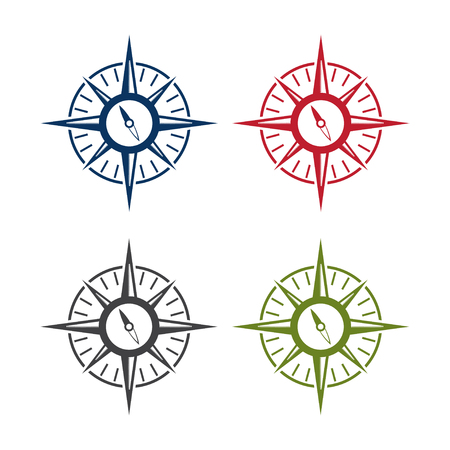 abstract icon vector design template of compass set Illustration