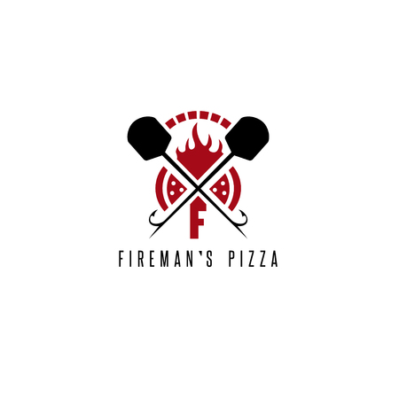 gaff: firemans pizza vector concept with oven and peels Illustration