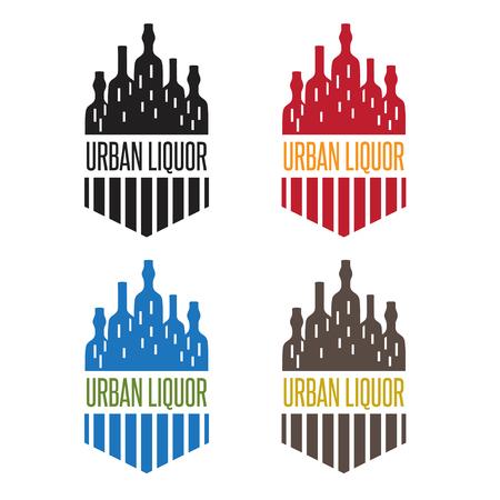 bottiglie di liquore set vettore urbano con finestre