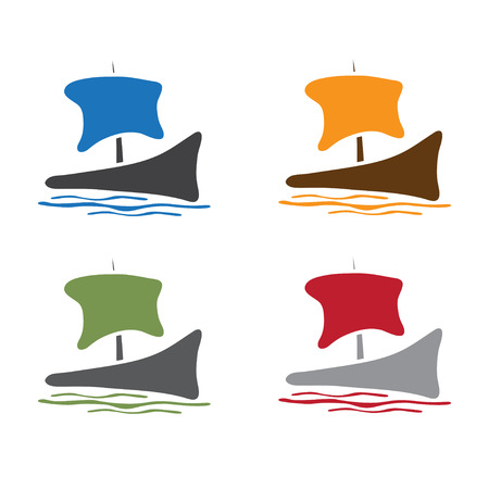 abstract sail ship icon vector design template Illustration