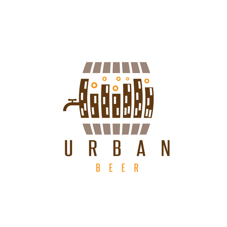 urban beer vector design template with cask and buildings