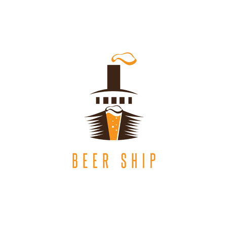 trawler net: negative space vector concept of beer and ship