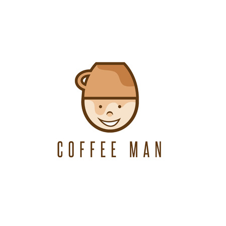 cartoon coffee man with cup on head vector design template