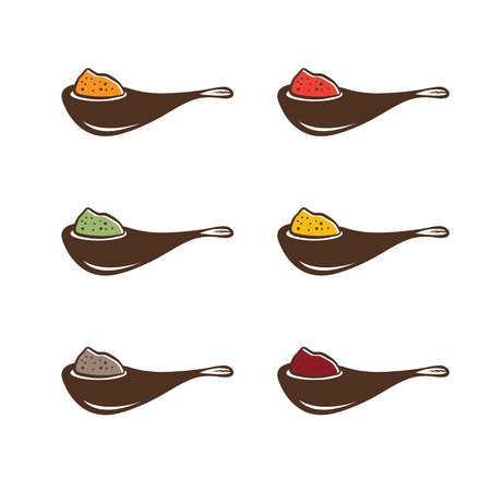 allspice: abstract spoons with different spices vector design template