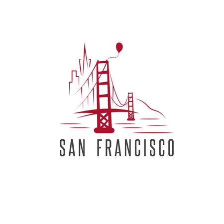 san francisco skyline,balloon and golden gate bridge vector design template illustration Ilustração