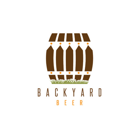 backyard beer vector design template with fence and cask Illustration