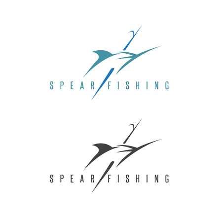 marline: spearfishing vector illustration set with outline marlin