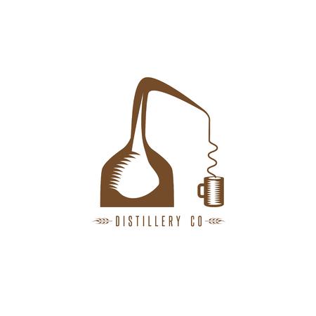 destilacion: vector plantilla de diseño de whisky alambique de cobre