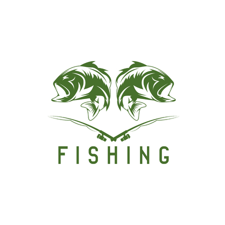 largemouth: vintage fishing vector design template with bass