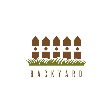 backyard: backyard vector design template with fence and grass
