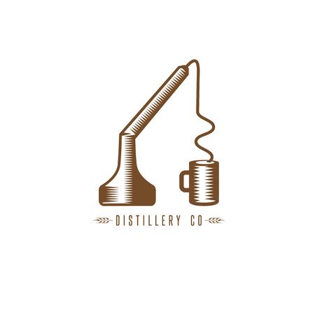 vector plantilla de diseño de whisky alambique de cobre