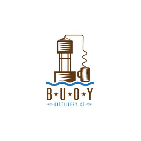 waterway: hooch still buoy distillery concept vector design template