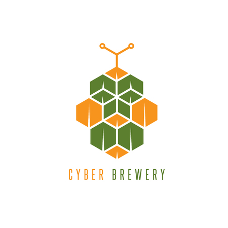 brewery: cyber brewery vector concept with abstract hop Illustration