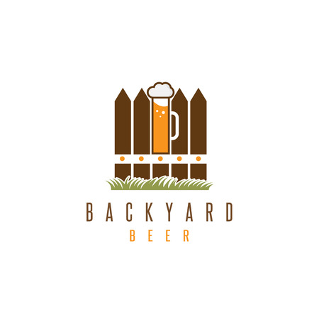 rural development: backyard beer vector design template with fence and mug