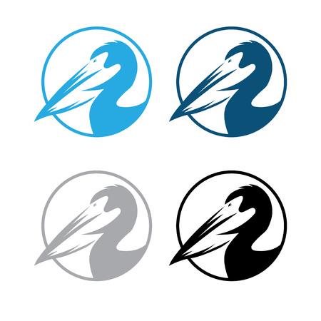 pelican round emblems set vector design template