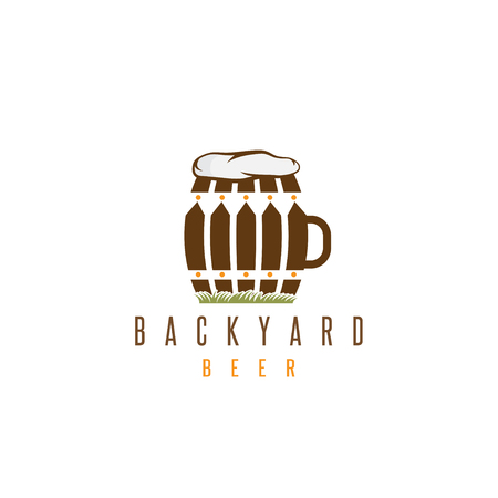backyard: backyard beer vector design template with fence and cask Illustration
