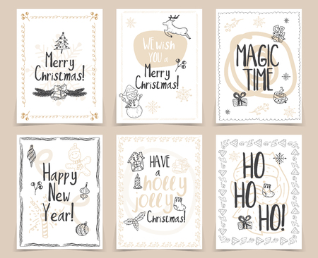 planners: Set of creative holidays journaling cards. Merry Christmas and Happy New Year posters template.Greeting scrapbooking, congratulations, invitations, stickers, planners and other .Vector illustrations
