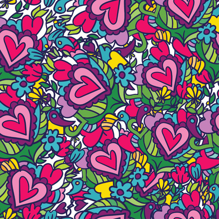 planners: Creative holidays seamless pattern for Valentines Day. Greeting scrapbooking, congratulations, invitations, stickers, planners and other .Vector illustrations Illustration