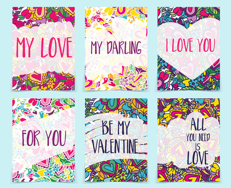 planners: Set of creative holidays journaling cards. Valentines Day posters template. Greeting scrapbooking, congratulations, invitations, stickers, planners and other .Vector illustrations Illustration