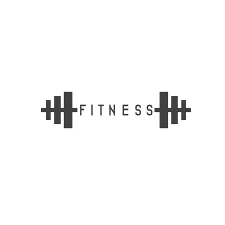 cast iron: simple flat fitness vector illustration with barbell