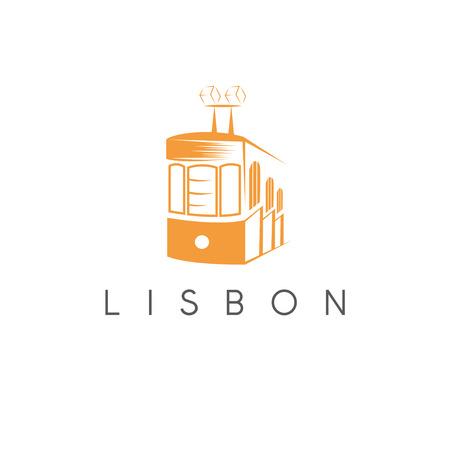 Lisbon Portugal tram landmark vector design template Illustration