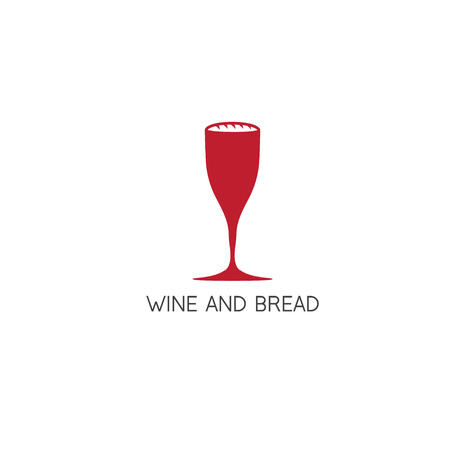 bread and wine: wine glass and bread in it vector design template