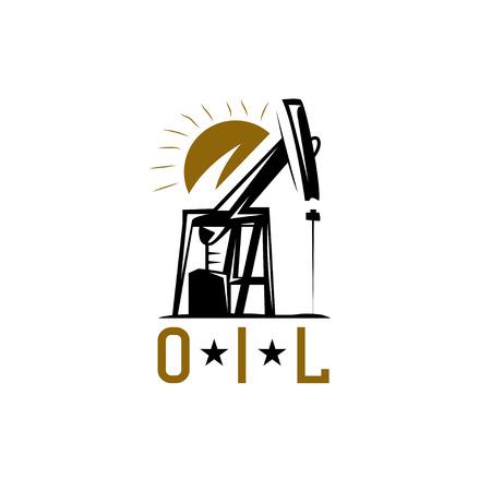 oil derrick and sun vector design template
