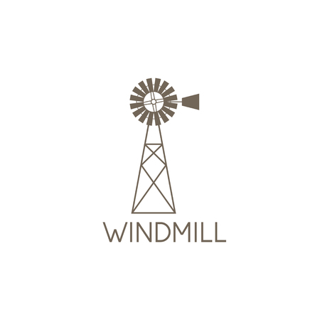 wind mills: simple vector illustration of old farm windmill