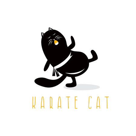 funny cat making karate kick vector design template