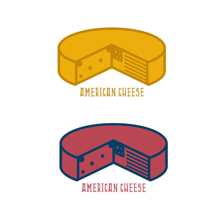 edibles: block of cheese with american flag vector design template