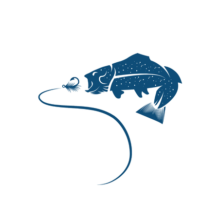 vector design template of trout and lure
