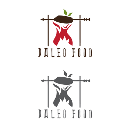 paleo food meat and arrow vector design template