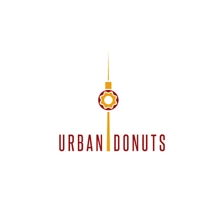 donut and television tower vector design template
