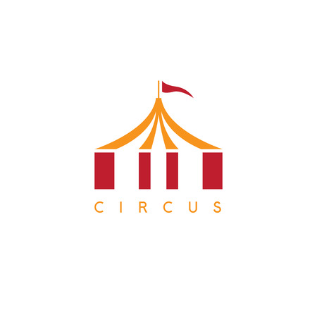 simple vector illustration with circus tent and flag Ilustração