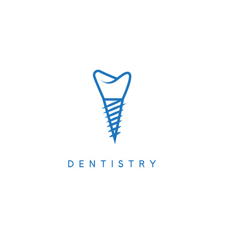 corrective: dentistry vector icon concept with the implant