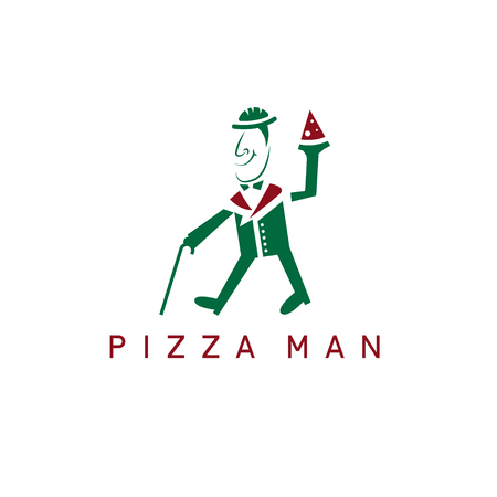 Gentleman with cane and pizza slice vector design template
