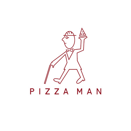 serving tray: Gentleman with cane and pizza slice vector design template