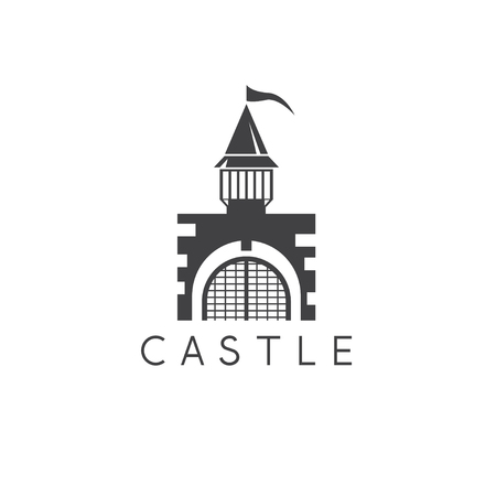 Castle or prison abstract simple vector design template