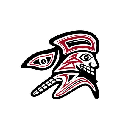 Trailblazer in the Pacific Native American style vector design template