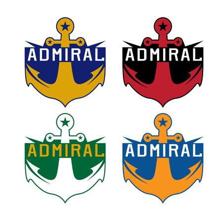 admiral: set of anchor sport crests vector template design Illustration