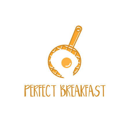 Concept logo template with waffles pan and fried eggs. Vector illustration