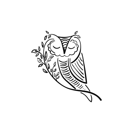 Concept illustration of owl with branch and leaf. Vector design Illustration