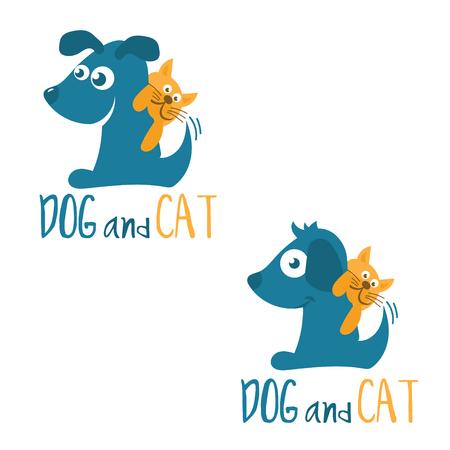 Template logo design of cartoon dog and cat. Vector illustration