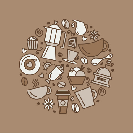 Set of coffee theme Line art draw icons in the circle