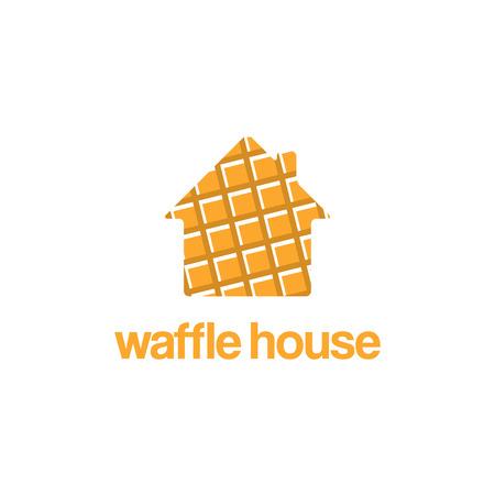 Logo template design of waffle house. Vector illustration