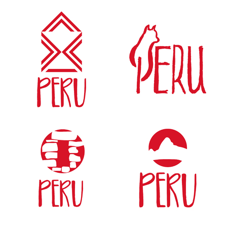 machu: Set of concept logo template for Peru theme. Vector illustration