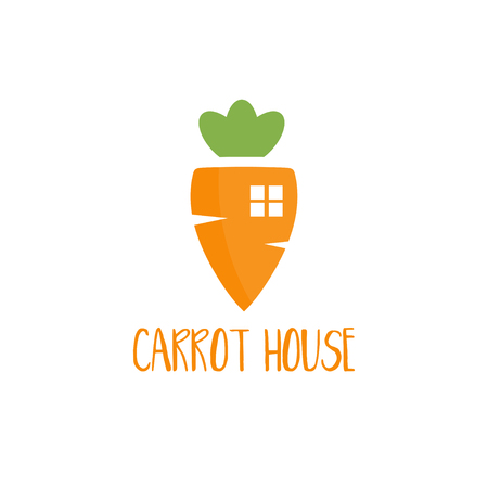 veg: Template logo design with carrot house for the food theme. Vector illustration. Illustration