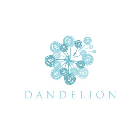 Illustration of concept logo of dandelion. Vector Çizim