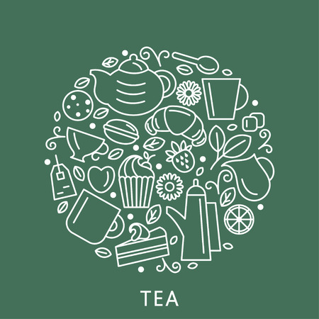 Set of tea theme. Line art draw icons in the circle.Vector illustration Illustration